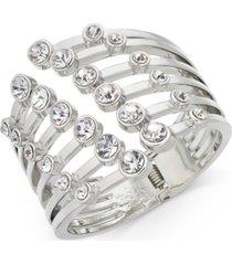 thalia sodi silver-tone crystal bezel claw cuff statement bracelet, created for macy's