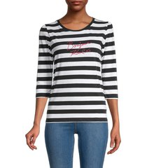 karl lagerfeld paris women's striped autograph-embroidered top - black white - size s