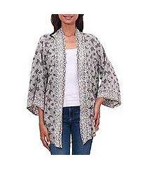 rayon kimono jacket, 'nebula in pewter' (indonesia)