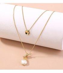 collar a capas con colgante de diseño anudado y perlas de imitación de oro
