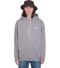acne studios ferrin face sweatshirt in grey cotton
