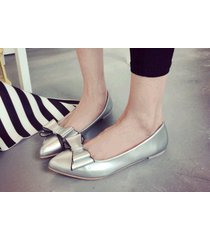 pp251 cutie pointy pump with big bow top, flat heel, us size 5-9, silver
