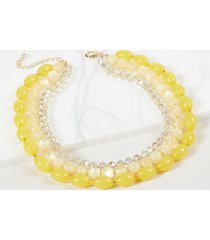 lane bryant women's 3-layer beaded necklace - yellow onesz pastel yellow