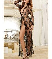 black lace deep v neck mesh lingerie set