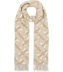 women's burberry monogram jacquard cashmere scarf, size one size - brown