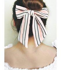 striped printed bowknot elastic hair tie