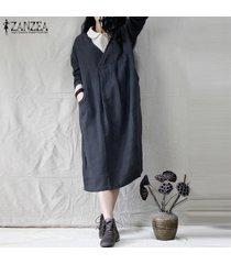 zanzea casual para mujer de manga larga con cuello en v solid algodón vestido suelto kaftan vestidos (no incluye los camisas) -azul marino