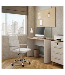 cadeira de escritório assistente giratória fitz branca