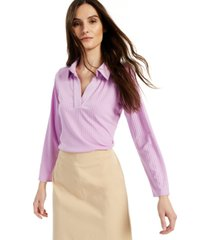 alfani ribbed collared top, created for macy's