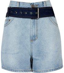 shorts clochard cintura alta cinto (jeans claro, 50)