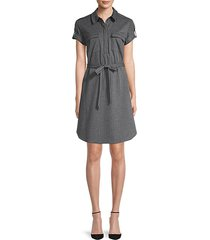 striped tie-waist shirtdress