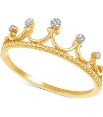 tiara statement ring in 10k gold & rhodium-plate