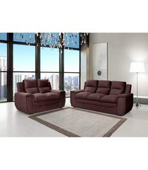 conjunto de sofá benetton 3 e 2 lugares tecido suede amassado marrom café - hellen