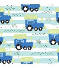 papel de parede adesivo trenzinho azul 2,70x0,57m - azul - dafiti