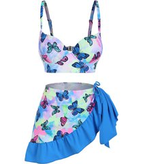 butterfly print tie dye push up three piece swimsuit