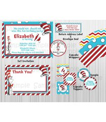 cat in the hat (dr. seuss)  birthday party package: printable, invitation