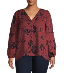 bobeau women's plus floral-print top - burgundy floral - size 1x (14-16)