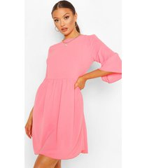 frill sleeve smock dress, coral