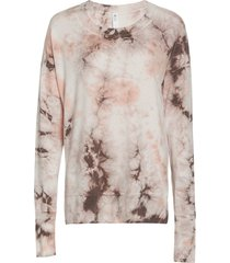 glyder women's lounge long sleeve t-shirt - bone tie dye - medium spandex
