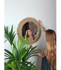 duże makramowe lustro ścienne w stylu boho