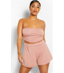 plus jersey bandeau en losse blouse set, rose