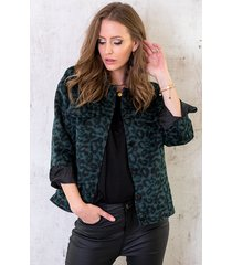 panter fleece jacket smaragdgroen