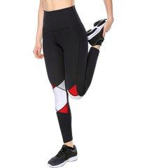 leggings negro-blanco-rojo jogo rombos