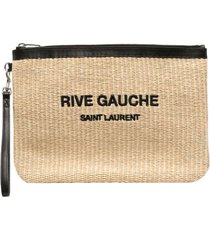 straw and leather pouch