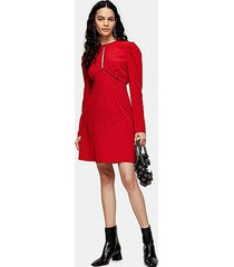 red piped keyhole mini dress - red
