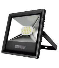 refletor taschibra tr led 20 quadrado 20w 3000k autovolt preto