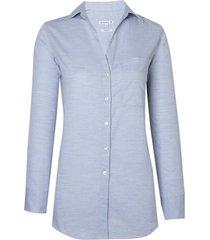 camisa dudalina manga longa tricoline maquinetado feminina (cinza mescla claro, 46)