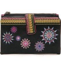 billetera negra-multicolor desigual