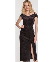 czarna sukienka midi z brokatem