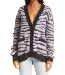 women's re/done '90s oversize check wool & alpaca blend cardigan, size x-small - black