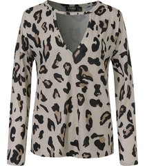 yoins camiseta de manga larga con cuello en v de leopardo marrón