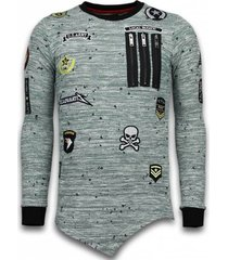 sweater local fanatic longfit asymmetric embroidery - sweater patches - us army -