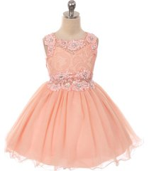 peach mini lace bodice rhinestones neckline waistline birthday flower girl dress