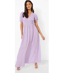 gingham maxi jurk met cup detail, lilac