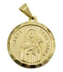 pingente tudo jóias santa terezinha folheado a ouro 18k