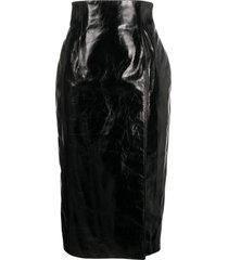 16arlington leather midi pencil skirt - black