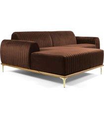sofá 3 lugares com chaise base de madeira euro 245 cm veludo marrom - gran belo