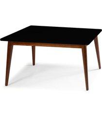 mesa de madeira retangular 140x90 cm novita 609 cacau/preto - maxima