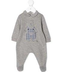 il gufo teddy bear print pajamas - grey
