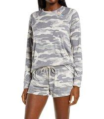 women's pj salvage women's cool camo sweatshirt, size x-large - grey
