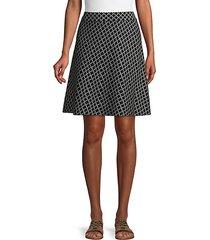 geometric-print cotton blend a-line skirt