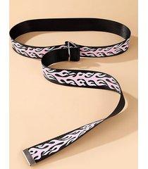 rings buckle flame pattern canvas belt