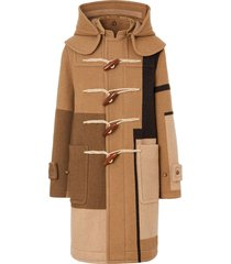 burberry panelled duffle coat - brown