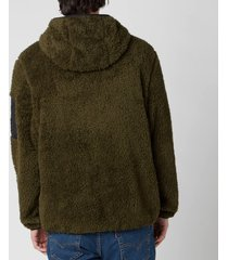 polo ralph lauren men's curly sherpa full zip hoodie - company olive - xxl