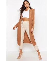 maxi duster jas met geplooide taille, kameel