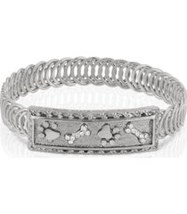 2028 silver-tone paw and bones belt bracelet